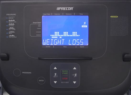 A treadmill's built-in exercise program for weight loss.