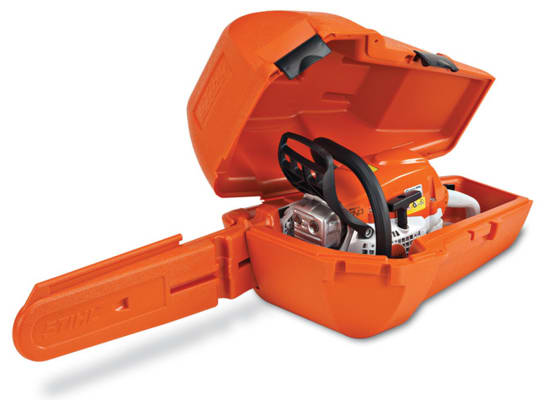 An orange chainsaw case.