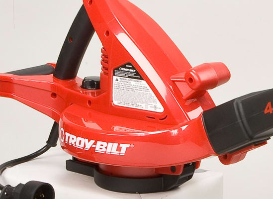 A leaf blower's bottom-mounted air intake.