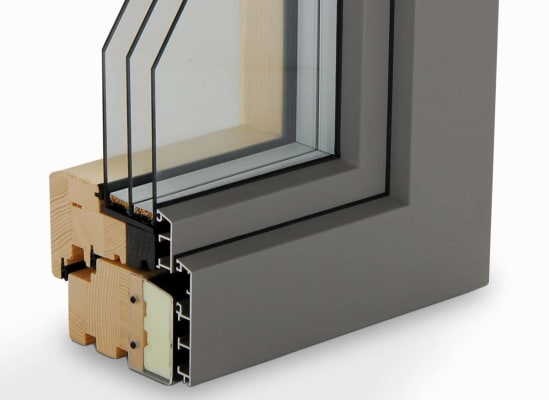 A window cross section that shows the cladding.