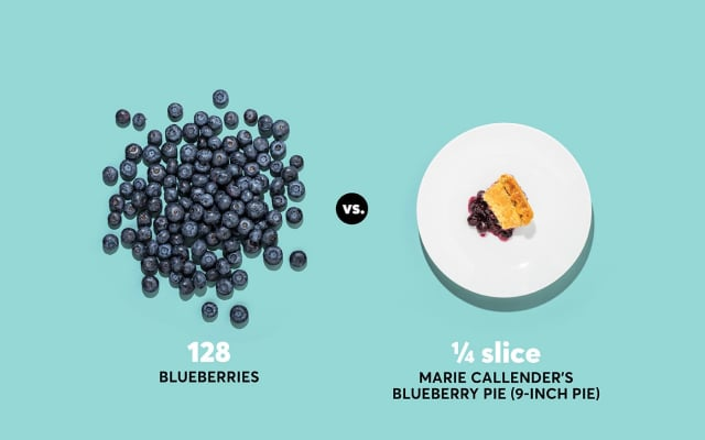 A photo of blueberries and Marie Callender's blueberry pie