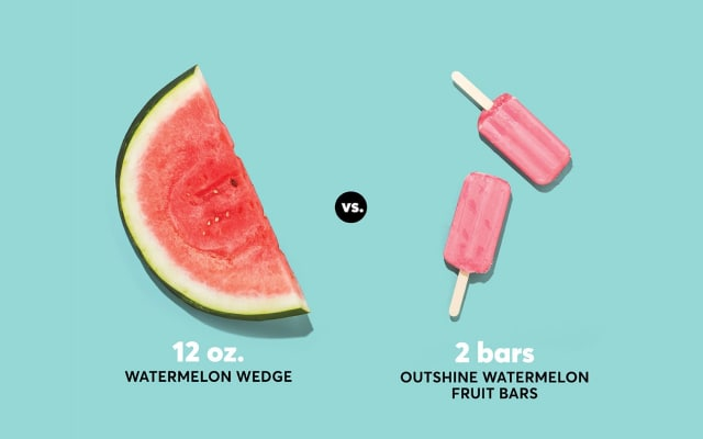 A photo of watermelon and Outshine watermelon fruit bars