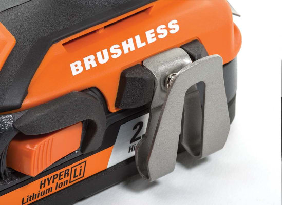 The brushless motor on an 18-volt cordless drill from Ridgid.