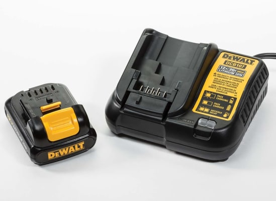 A DeWalt 12-volt lithium-ion battery and charger.