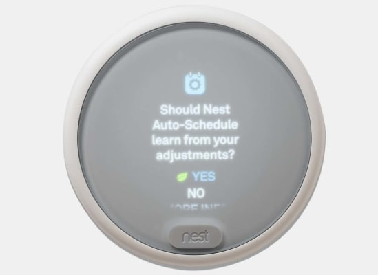 The Nest Thermostat E learns your heating and cooling preferences.