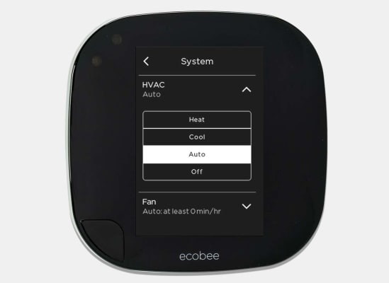 Ecobee thermostats feature an auto changeover switch for times of the year when nights are cold and days are hot.