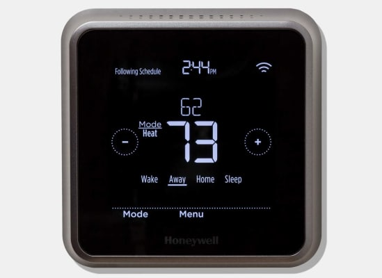 Honeywell's Lyric T5 clearly lays out helpful information and controls on its large screen.