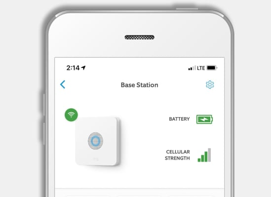 A smartphone displaying a battery life and backup icon for a home security system.