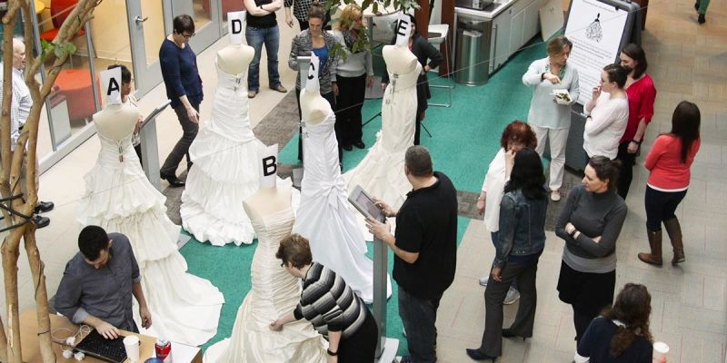 Wedding gown review: Consumer Reports staff judging the 5 wedding dresses from our test.