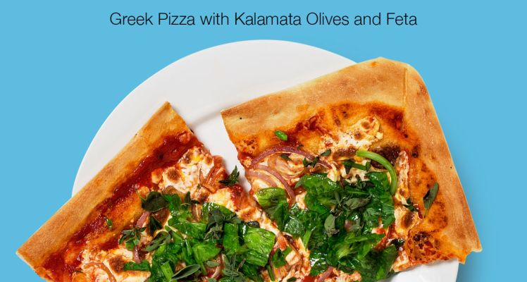 Blue Apron Greek Pizza with Kalamata Olives and Feta