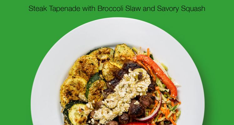 Green Chef Steak Tapenade with Broccoli Slaw and Savory Squash