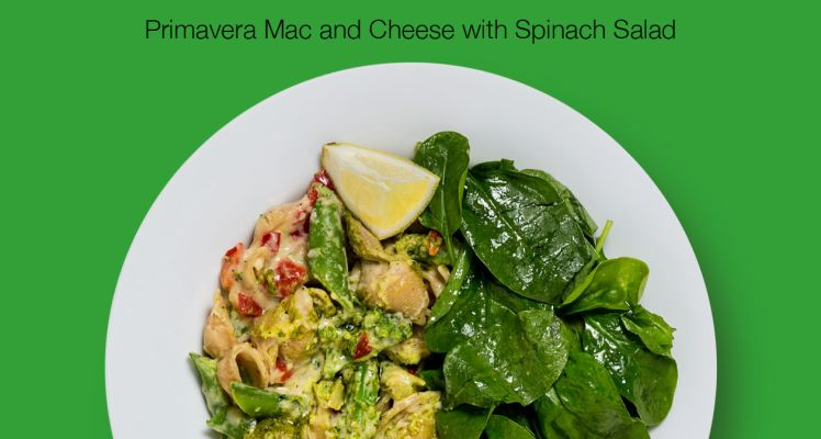 Green Chef Primavera Mac and Cheese with Spinach Salad