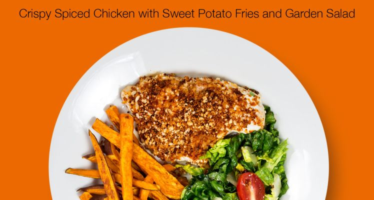 HelloFresh Crispy Spiced Chicken with Sweet Potato Fries and Garden Salad