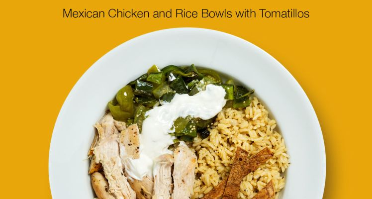 Plated Mexican Chicken and Rice Bowls with Tomatillos