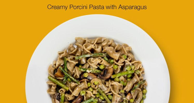 Plated Creamy Porcini Pasta with Asparagus