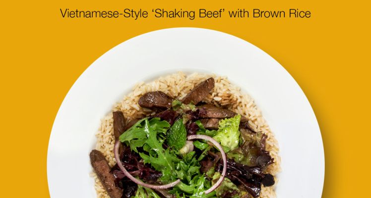 Plated Vietnamese Style Shaking Beef with Brown Rice