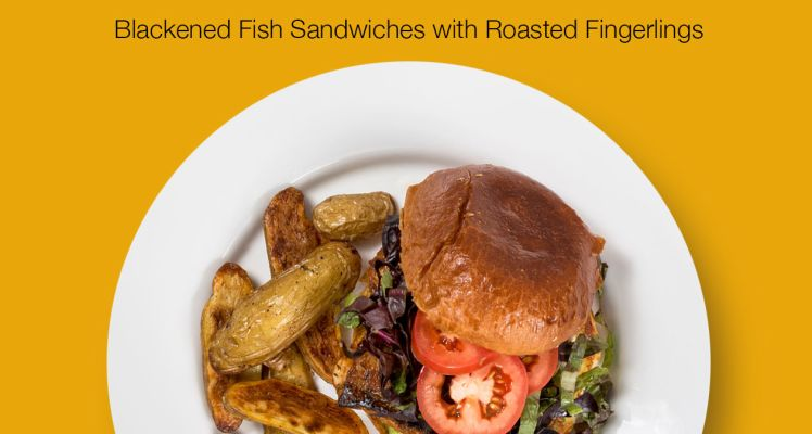 Plated Blackened Fish Sandwiches with Roasted Fingerlings