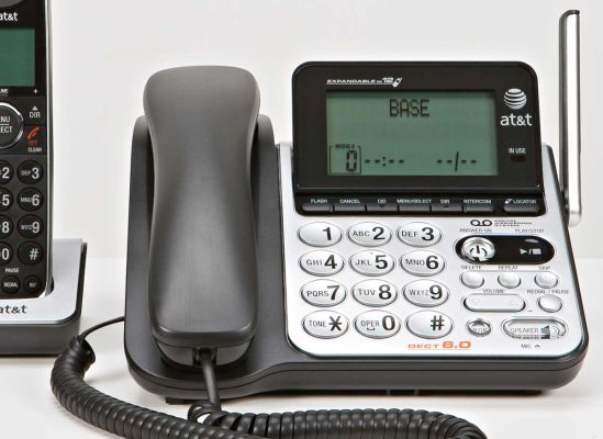Photo of a cordless phone with a base keypad.