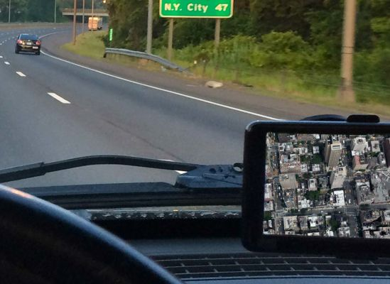 Photo of a satallite view on an in-car GPS unit.