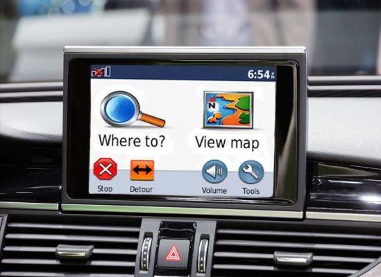 photo of the screen of a gps in a car