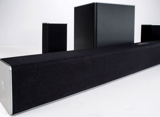 Photo of a sound bar with extra speakers.