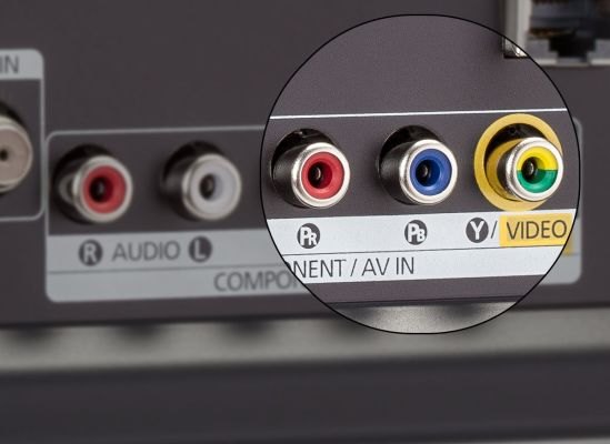 Photo of a TV's component/composite video inputs.