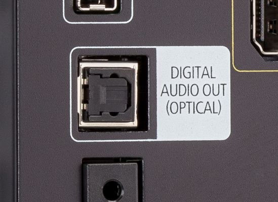 Photo of a TV's digital optical audio output.