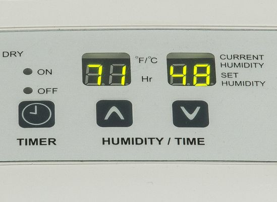 A user-friendly control panel on a dehumidifier.