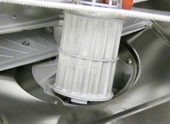 Close shot of a dishwasher filter.