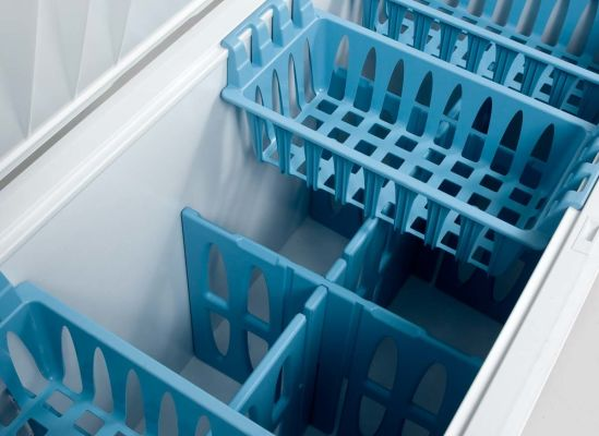 Photo of freezer compartment dividers inside a chest freezer.