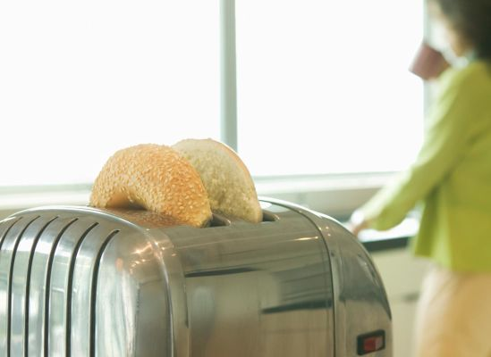 Photo of a toaster with bagel controls.