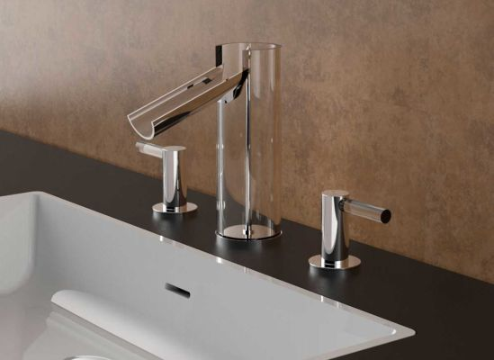 The Uffizi faucet is the first one made all out of glass