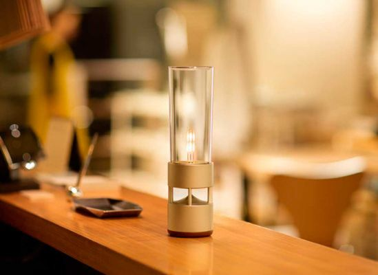 This glass cylinder functions as a speaker