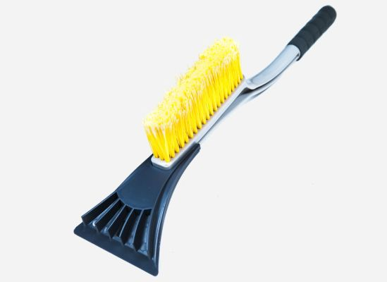 An image of a snow brush and windshield ice scrapper, a vital tool motorist need to have in their car emergency kits for the winter.