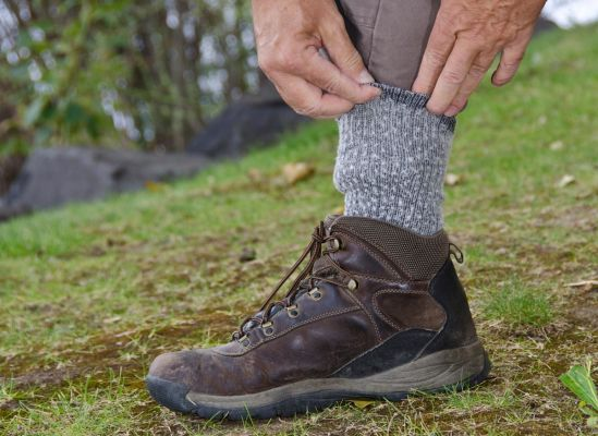 Photo of someone tucking their pants into their socks.