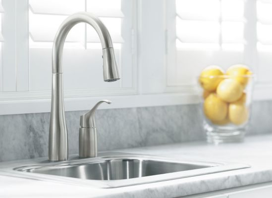 Photo of a single-handle kitchen faucet.