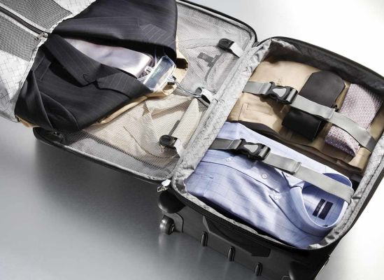 Photo of a suitcase with compartments.