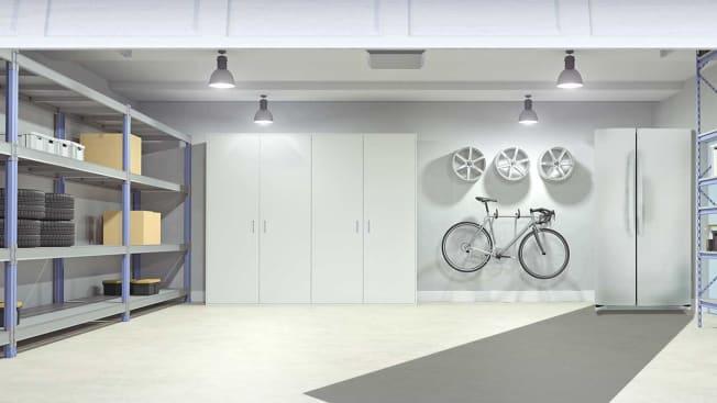 Garage with refrigerator
