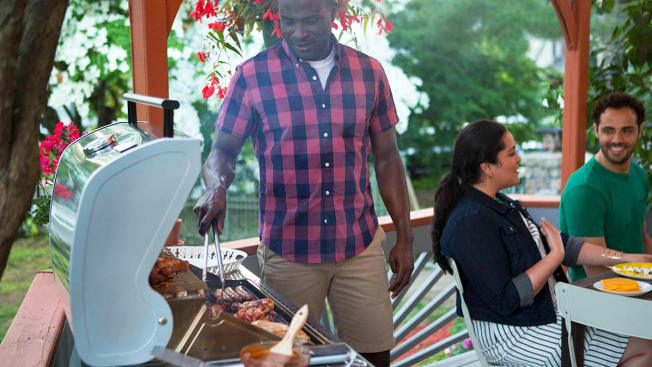 Tending grill
