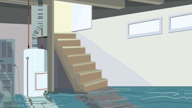 An illustration of a flooded basement.