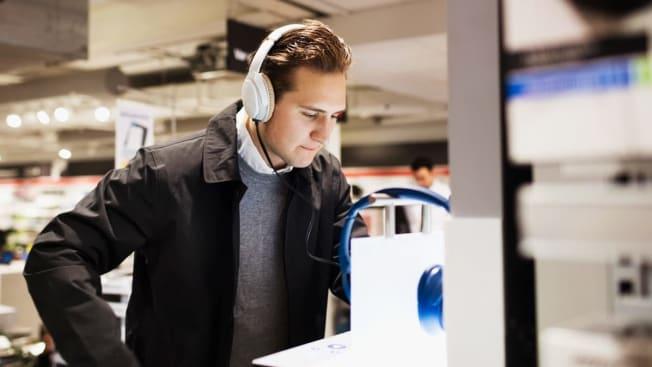 Man shopping for headphones