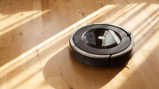 robot vacuum on wood floors