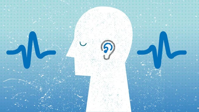 Silhouette  of head with hearing aid in ear, sound waves in background.