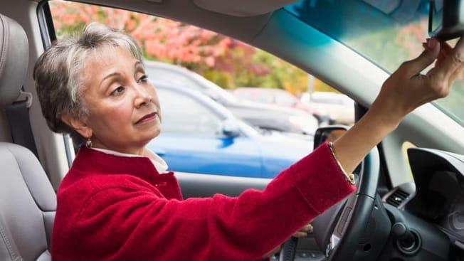 senior woman car suv