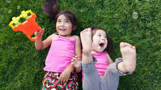kids playing on lawn