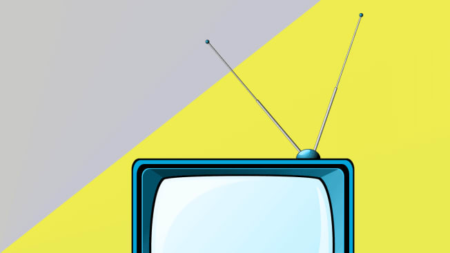 Illustration of a TV with an antenna.