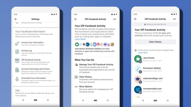 Facebook screen grabs of new clear history feature