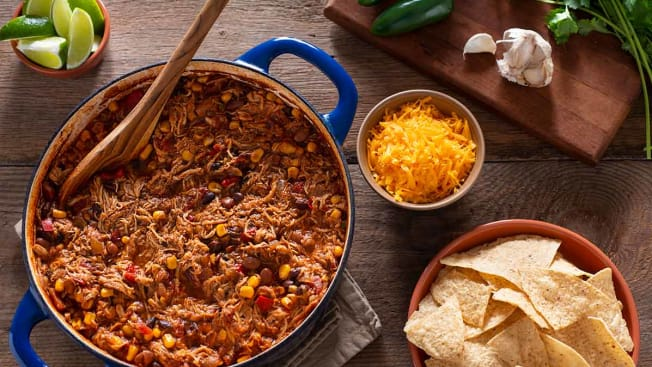 Chili seen from above in a Dutch oven pot.