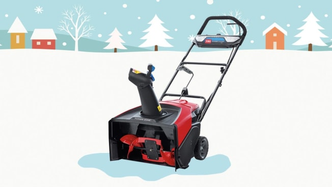 Toro Power Clear e21 39901 snow blower sitting in an illustrated snowy scene