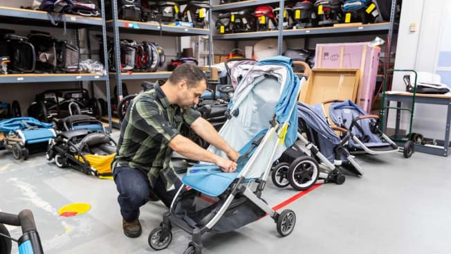 technician testing strollers